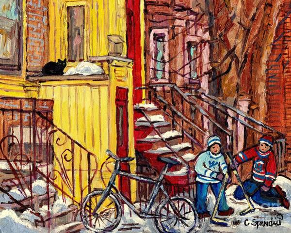 Painting - Montreal Staircase Paintings Black Cat Yellow House Red Door Red Steps Hockey Art  C Spandau Quebec by Carole Spandau