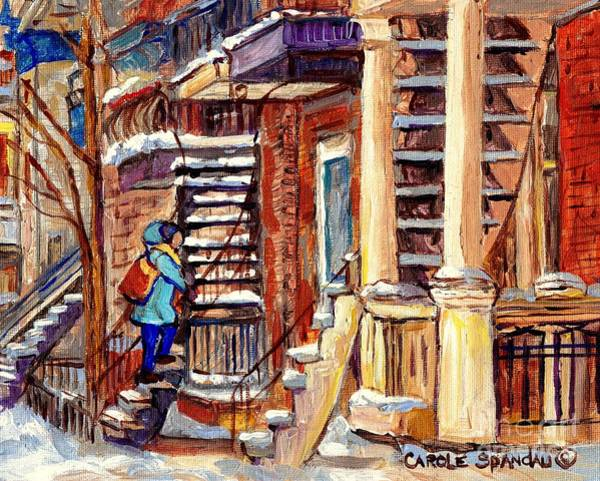 Painting - Montreal Staircase Scene Girl With Blue Jacket Canadian Winter Steps C Spandau Plateau To Verdun     by Carole Spandau