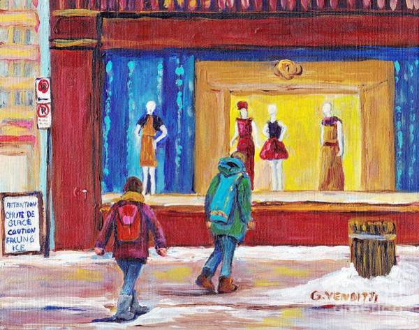 Wall Art - Painting - Montreal Winter Scene December Day Passing By La Baie  Store Window Street Scene Painting G Venditti by Grace Venditti