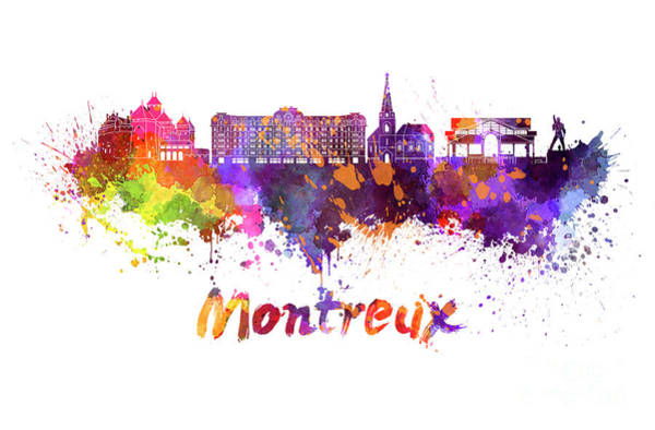 Wall Art - Painting - Montreux Skyline In Watercolor Splatters  by Pablo Romero