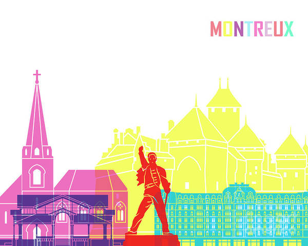 Wall Art - Painting - Montreux Skyline Pop In Editable Vector by Pablo Romero
