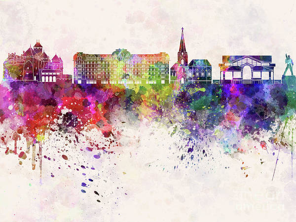 Wall Art - Painting - Montreux Skyline Watercolor Background  by Pablo Romero