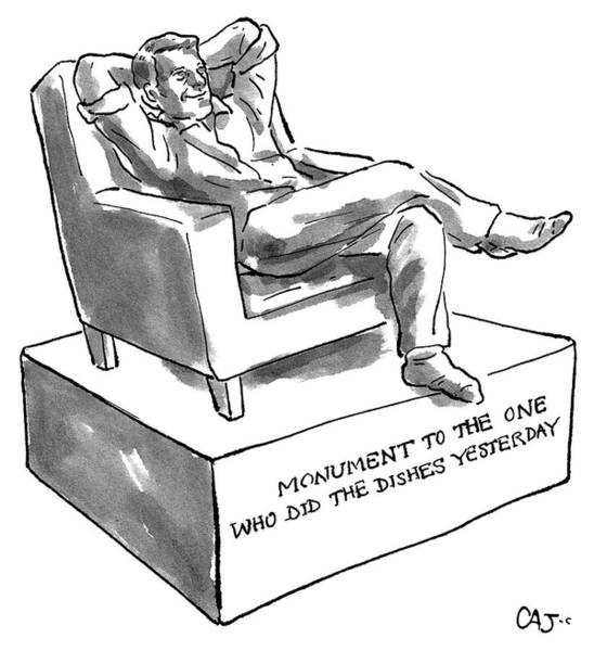 Sculpture Drawing - Monument Of The One Who Did The Dishes Yesterday by Carolita Johnson