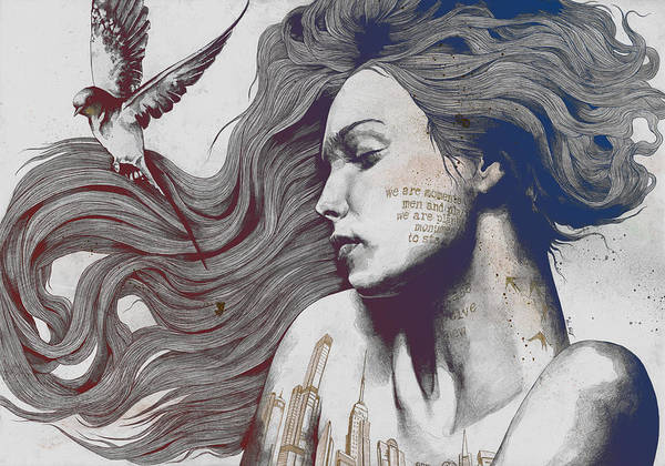 Tattoo Drawing Drawing - Monument - Red 'n Blue - Sleeping Beauty, Woman With Skyline Tattoo And Bird by Marco Paludet