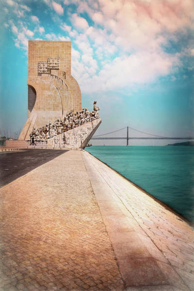 Vasco Da Gama Bridge Wall Art - Photograph -  Monument To The Discoveries Belem Lisbon Portugal by Carol Japp