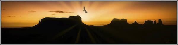Photograph - Monument Valley Sunrise, Bird Silhouette by A Gurmankin