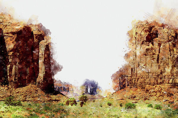 Painting - Monument Valley - Watercolor 09 by Andrea Mazzocchetti