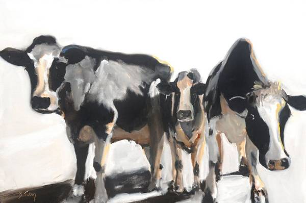 Painting - Moo-dy Cows Oil Painting by Donna Tuten