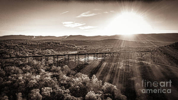 Photograph - Moodna Viaduct At Sunrise In Black And White by Joe Santacroce