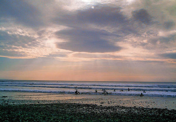 Wall Art - Photograph - Moody Autumnal Sky Over Surfers At Crooklets Bude Cornwall by Richard Brookes
