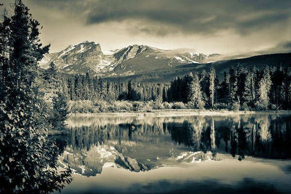 Photograph - Moody Rocky Mountain Landscape At Sprague Lake - Rmnp Sepia by Gregory Ballos
