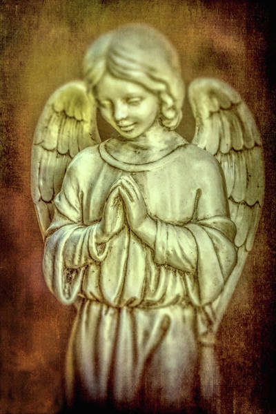 Photograph - Moody Textured Angel Statue by Garry Gay