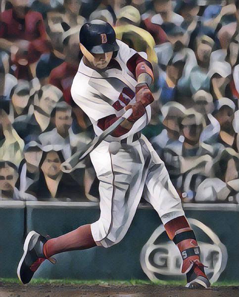 Wall Art - Mixed Media - Mookie Betts Boston Red Sox Abstract Art 1 by Joe Hamilton