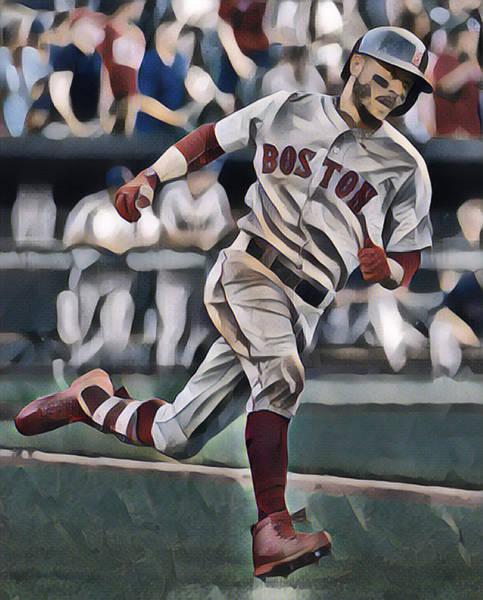 Wall Art - Mixed Media - Mookie Betts Boston Red Sox Abstract Art 2 by Joe Hamilton