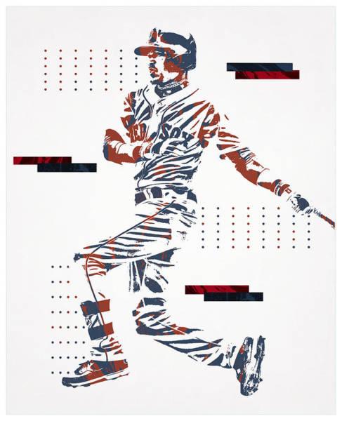 Wall Art - Mixed Media - Mookie Betts Boston Red Sox Pixel Art 100 by Joe Hamilton