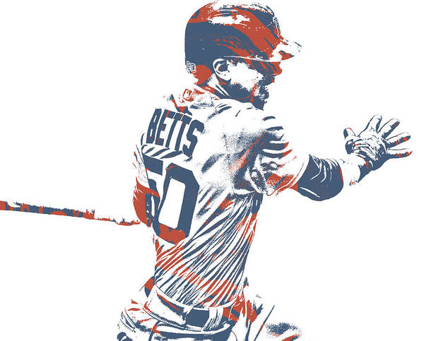 Wall Art - Mixed Media - Mookie Betts Boston Red Sox Pixel Art 51 by Joe Hamilton