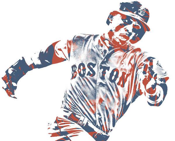 Wall Art - Mixed Media - Mookie Betts Boston Red Sox Pixel Art 52 by Joe Hamilton