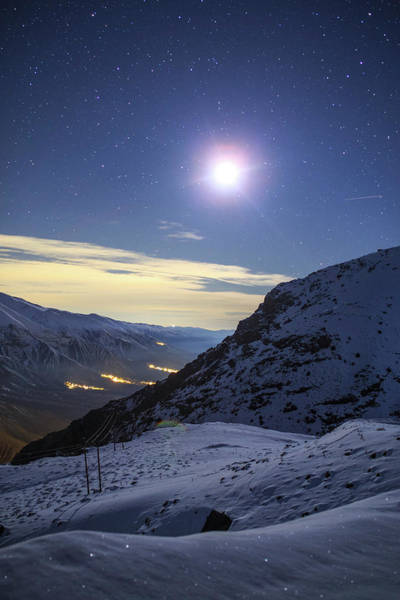 Photograph - Moon Above The Snow-covered Alborz by Jeff Dai
