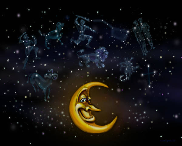 Digital Art - Moon And Constellations by Kevin Middleton