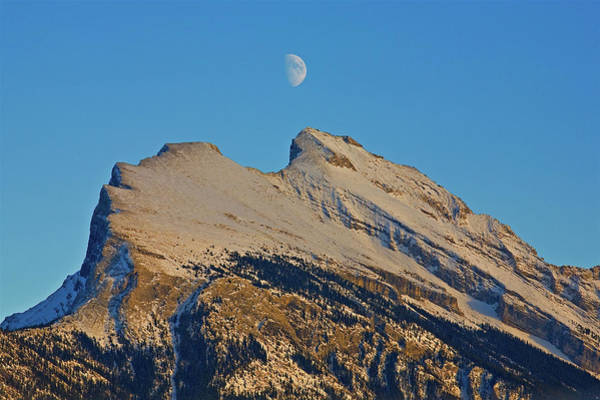 Photograph - Moon And Mount Rundle by Darrel Giesbrecht