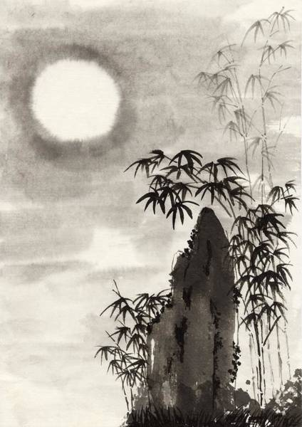 Bamboo Digital Art - Moon And Mountain, Ink Painting by Daj