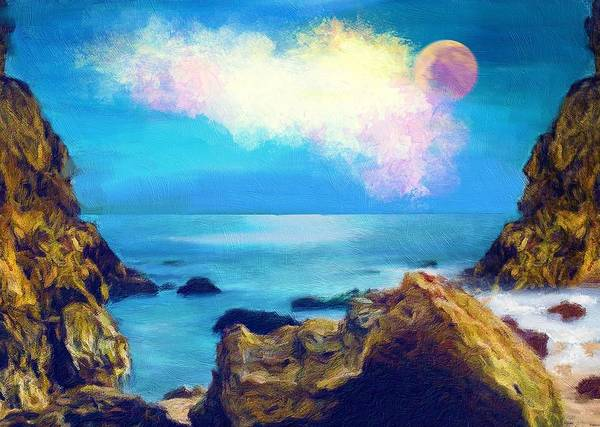 Full Moon Painting - Moon And Sea by ArtMarketJapan