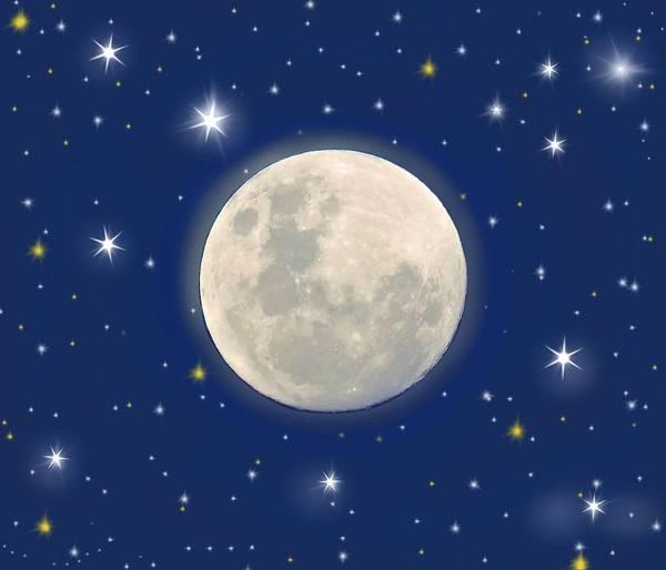 Mixed Media - Moon And Stars by Joan Stratton