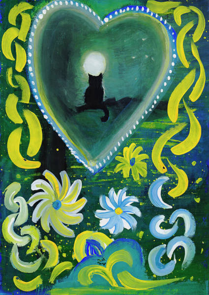 Painting - Moon Cat Ornament by Irina Dobrotsvet