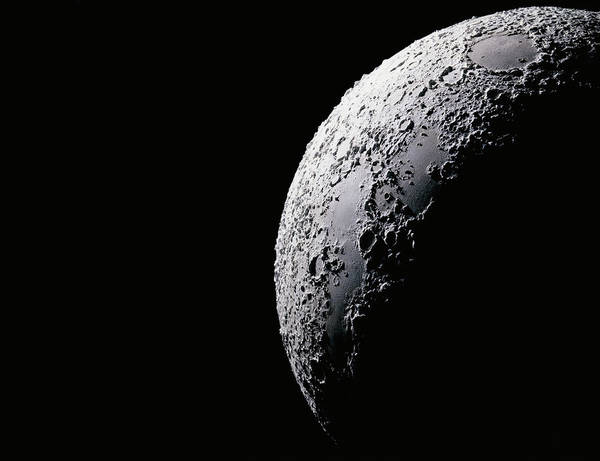 Meteor Crater Photograph - Moon, Close-up Digital Composite by George Diebold