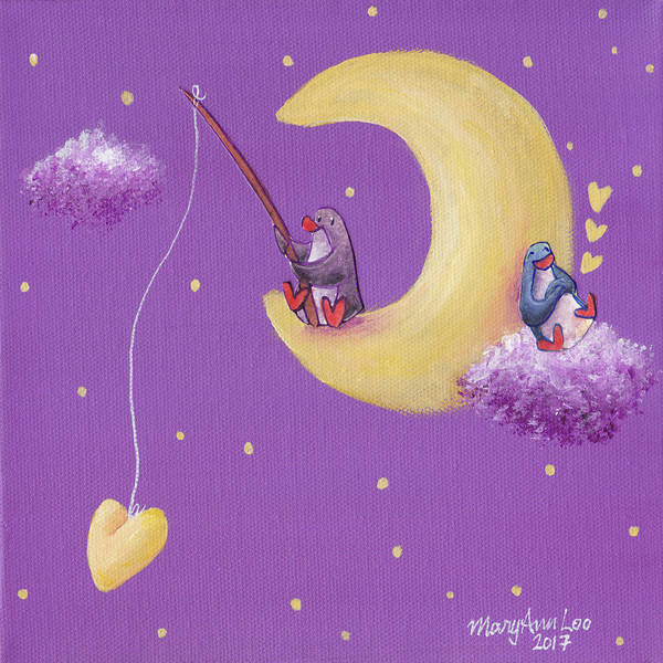 Wall Art - Painting - Moon Companions 5 by MaryAnn Loo