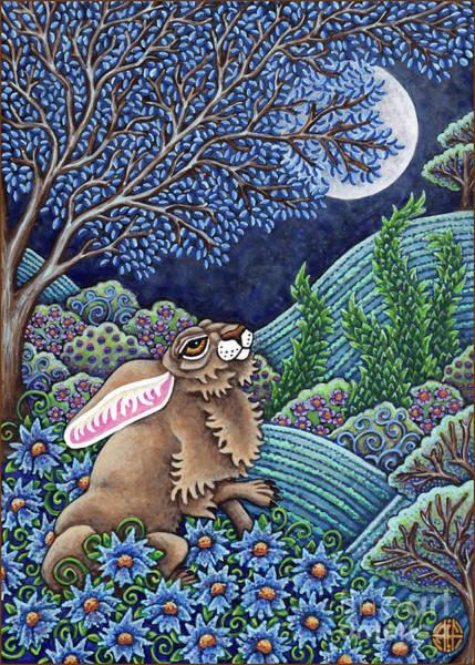Painting - Moon Gazing Hare 1 by Amy E Fraser