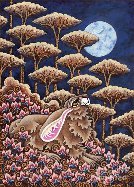 Painting - Moon Gazing Hare 5 by Amy E Fraser