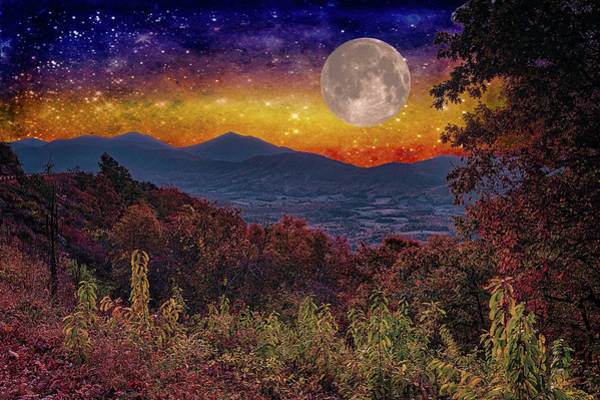 Wall Art - Digital Art - Moon In The Blue Ridge Fx by Dan Carmichael