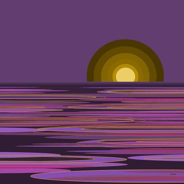 Ocean Scape Digital Art - Moon Light Bay -  Purples by Val Arie