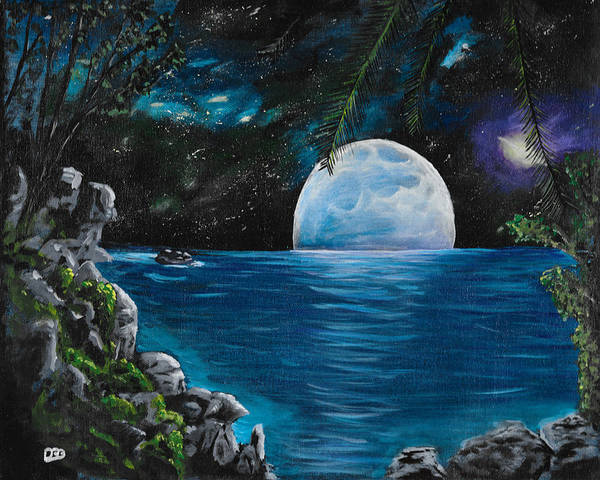 Star Formation Painting - Moon Light Island by David Bigelow
