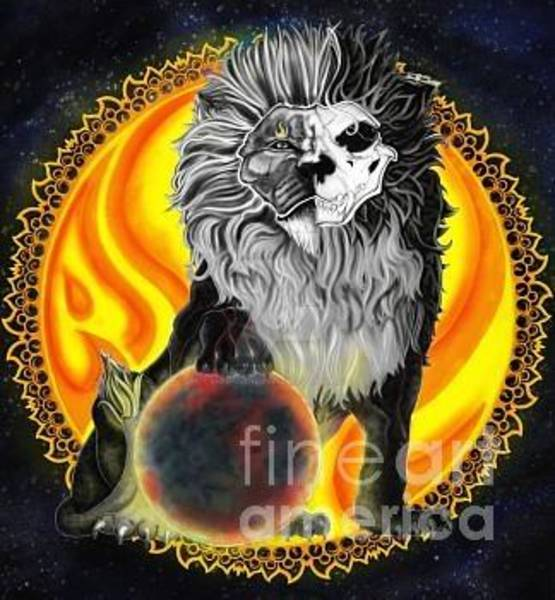 Eclipse Mixed Media - Moon Lion by Aneix