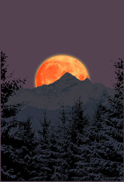 Digital Art - Moon Mountain by Gary Grayson
