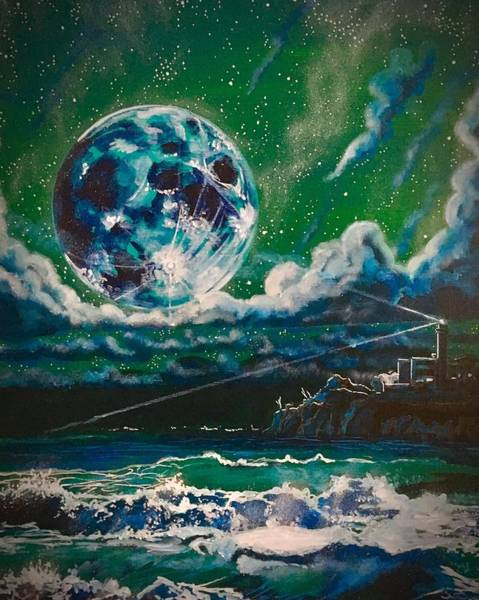 Painting - Moon Over Alcatraz by Joel Tesch