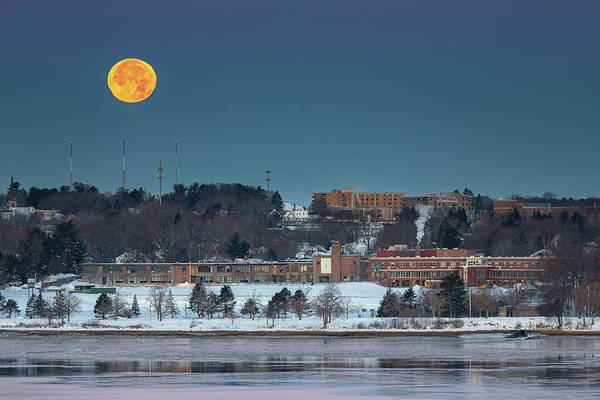 Photograph - Moon Over Cheverus Hs by Colin Chase