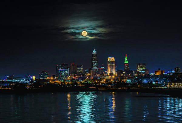 Wall Art - Photograph - Moon Over Cleveland  by Richard Kopchock