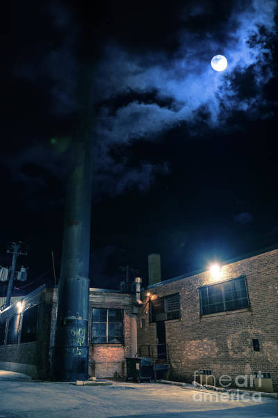 Dark Shadows Digital Art - Moon Over Industrial Chicago Alley by Bruno Passigatti