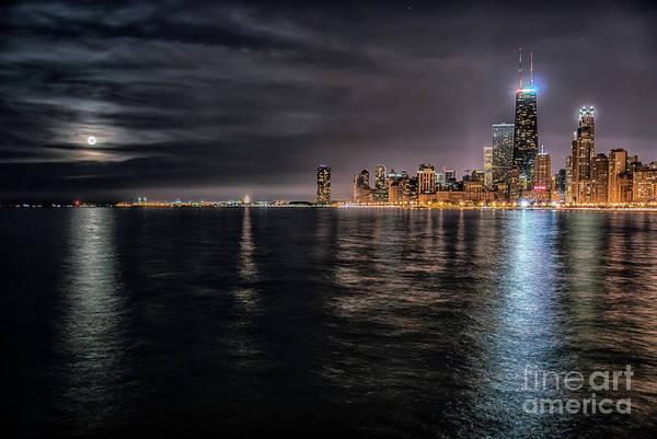 Lake Michigan Photograph - Moon Over Lake Michigan by Bruno Passigatti