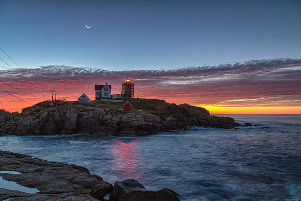 Photograph - Moon Over Nubble by Rod Best