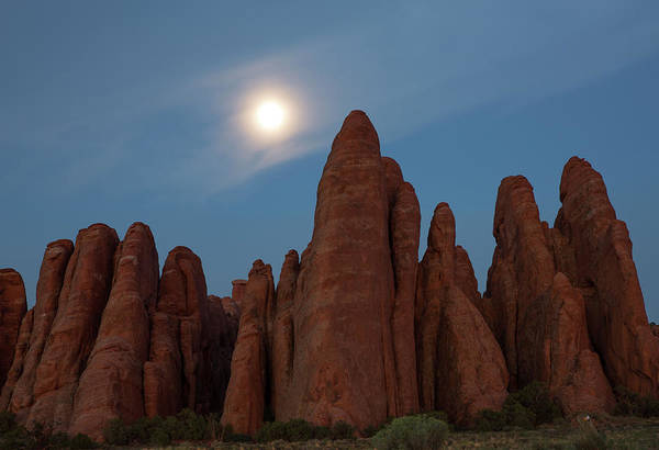 Photograph - Moon Over Sand Dune Arch Outcrop by Kyle Lee