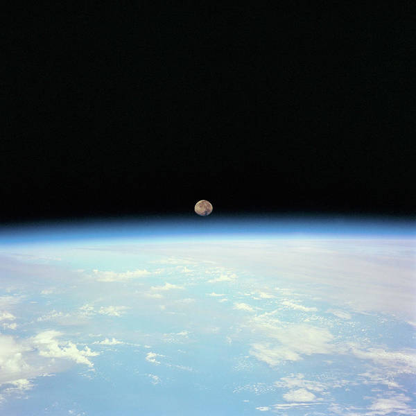 Satellite Image Wall Art - Photograph - Moon Over The Earth by Digital Vision.