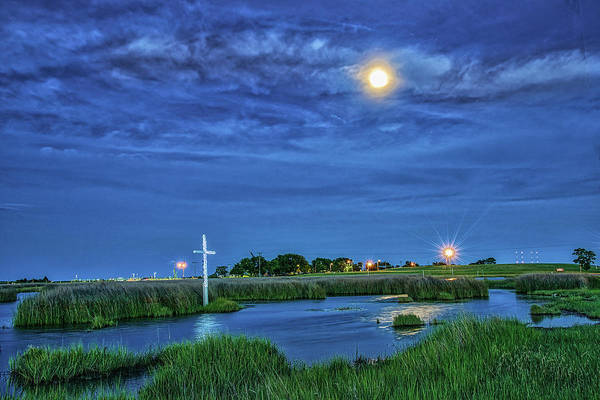 Photograph - Moon Over The Marsh Cross by Jerry Gammon