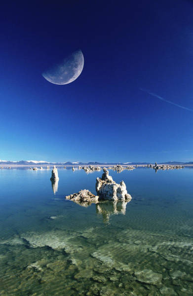 Marin Headlands Photograph - Moon Over Tufa Formations, Mono Lake by Mark Newman