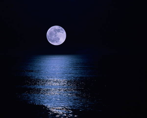 Night Photograph - Moon Reflecting On Sea At Night by Ken Biggs
