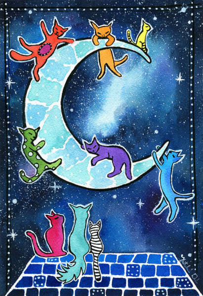 Wall Art - Painting - Moon Riders by Dora Hathazi Mendes