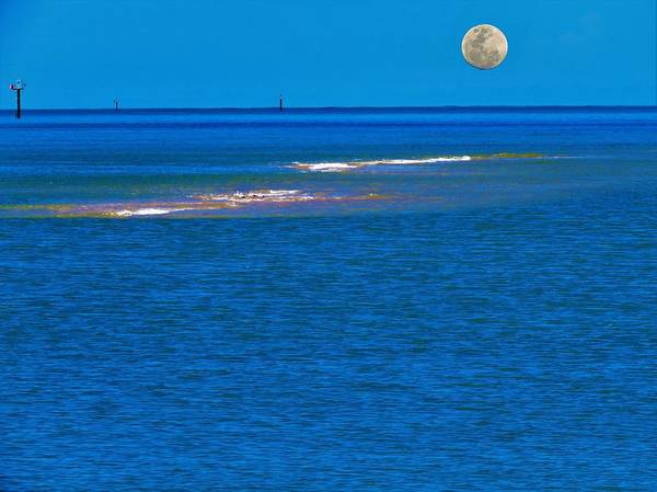 Photograph - Moon Rising Over Embley Mouth by Joan Stratton